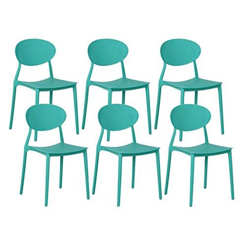 Zons Mega Lot de 6 chaises en PP empilable 48x48x81cm Vert