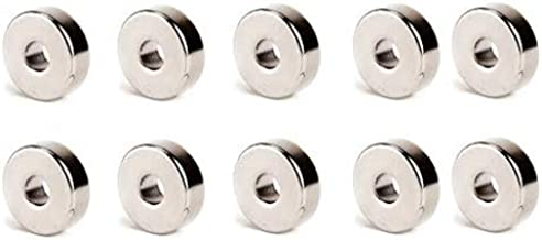 Perfect Magnets RING (HOLE) Shape 10 Pcs Nickel/NEODYUIM Coated Premium Brushed Refrigerator Magnet for Science and School Projects (11x5x5)