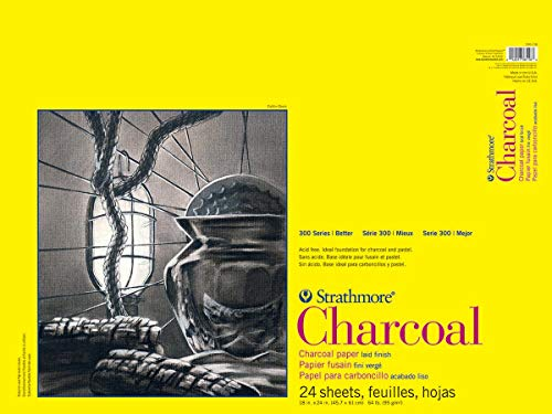 """Strathmore 300 Series Charcoal Pad, White, 18""""x24"""" Glue Bound, 24 Sheets"""