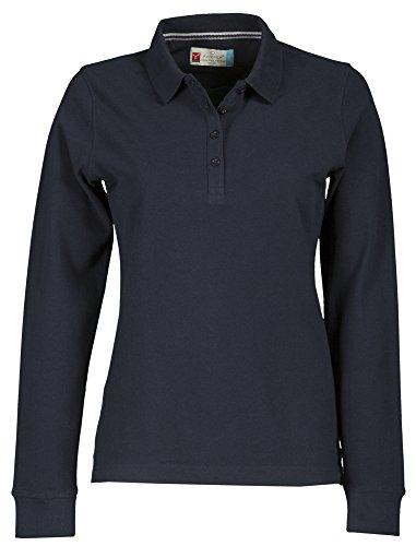 Polo da donna a maniche lunghe, in cotone piquet, modello Florence blu navy L