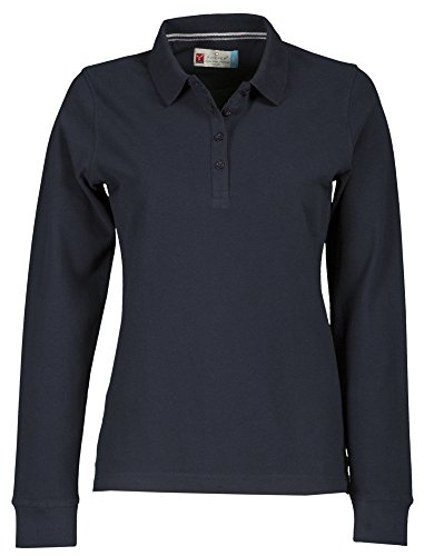 Polo da donna a maniche lunghe, in cotone piquet, modello Florence blu navy S