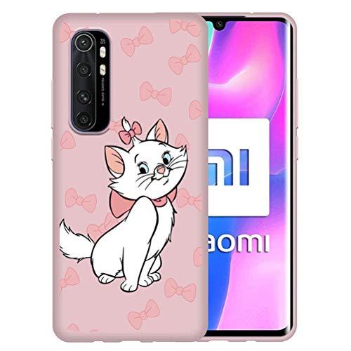 ZhuoFan Funda para Xiaomi Mi Note 10 Lite, Cárcasa Silicona Rosa con Dibujos Diseño Suave Gel TPU Antigolpes de Protector Piel Case Cover Bumper Fundas Movil para Mi Note10 Lite, Pajarita Gato
