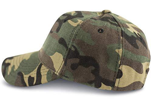 fashionchimp ® Military-Cap aus Baumwolle mit stufenloser Weitenregulierung, Baseballcap, 6-Panel Camouflage Cap (Woodland)