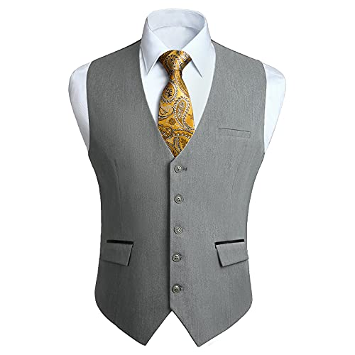 HISDERN Chalecos Gris Claro para Hombre de Vestir Formal Chaleco de Boda Clásico chaleco traje de Negocios fiesta Casual con Bolsillos 4XL