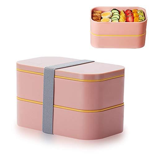 Besylo Scatole Bento Lunchbox, Porta Pranzo, Premium Bento Lunch Box, Contenitore per Alimenti Ecologico ermetico di Grano Naturale con Set di Posate per Bambini Scuola di Lavoro per Adulti (Rosa)