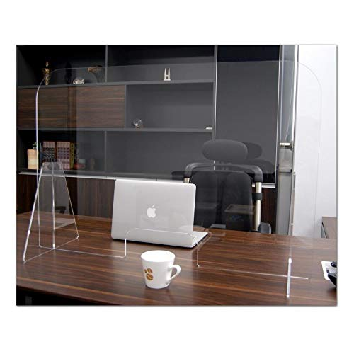 SuperBinson Protective Sneeze Guard- 24'x28' Clear Acrylic Plexiglass Shield For Counters or Desks, Transaction Window for Employers Customers, Barrier Against Coughing & Sneezing (24x28 inches)