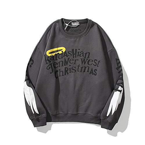 Kanye West Angel Wings Graffiti Print Crewneck Sweater Unisex Couple Hip Hop Star Sweatshirts Medium