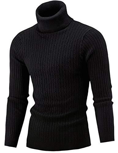 Pinkpum Homme Pulls Col Roulé Coton Uni Sweater Slim Fit Manches Longues Casual Chandail Noir 1 M
