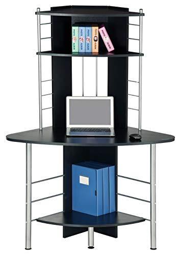 SixBros. Schreibtisch in schwarz, eckiger Bürotisch für Büro & Home Office, Eckschreibtisch, 113 x 65 cm B-1010/60