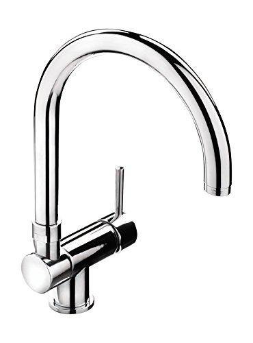 'aquaSu® Einhandmischer Gloria für Küchenspüle | Chrom | 78 mm Aufbauhöhe | Spüle | Umklappbar für Unterfenstermontage