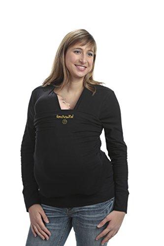 Camiseta de Porteo | PREMIUM |Camiseta Portabebés | Anticólicos | Amarsupiel | Fabricado en UE | Textil Seguro Certificado Oekotex | Portabebé Inovador| Manga Larga Talla M(40-42) Color negro