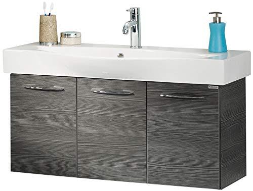 FACKELMANN Waschtischunterschrank VADEA/Badschrank mit Soft-Close-System/Maße (B x H x T): ca. 94 x 44 x 36 cm/hochwertiger Schrank fürs Bad mit 3 Türen/Korpus: Schwarz/Front: Schwarz