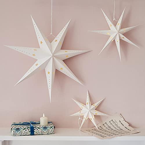 Lights4fun 3er Set 60er LED Papier Sterne mit Timer Faltsterne Weihnachtsstern Weihnachtsdeko