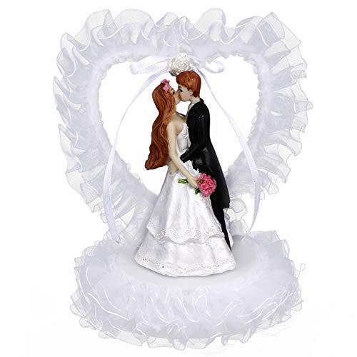 VALICLUD Wedding Cake Topper Resina Sposa Sposo Figurine Coppia di Innamorati Statua Figura Torta Nuziale Ornamento per Casa delle Bambole Bonsai Fata Decorazioni da Giardino