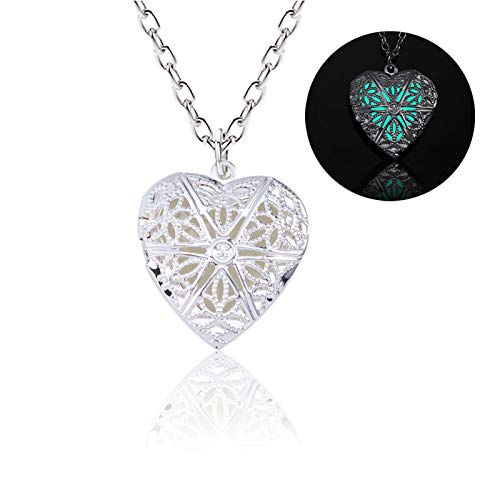 guodong Trendy corlour Love Heart Necklace Women Hollow Dark Luminous Necklaces Pendants Glowing in Dark Jewelry Collier
