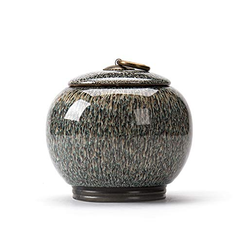 YHX Keramische Teedosen, mittelgroße versiegelte Ofendosen, Pu'er Grüntee-Set, Teelager
