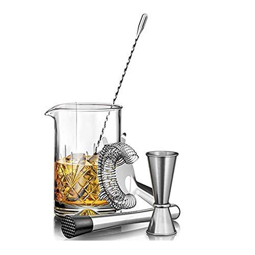 Fransande Juego de vasos de cristal para mezclar cócteles – 5 piezas – 450 ml de vidrio de mezcla, cuchara, jigger, colador y mortero