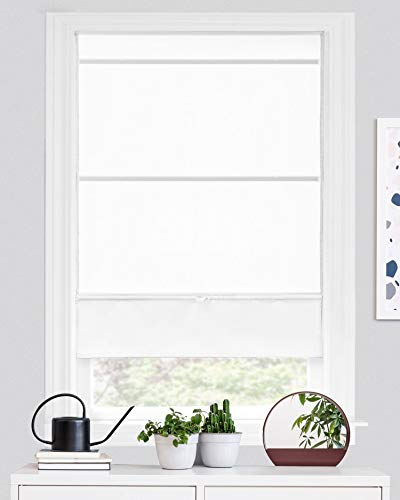 CHICOLOGY Magnetic Roman Shades, Fabric Window Treatment It's Perfect for Dining Room/Bedroom/Kitchen/Office and More, 27' W X 64' H, Runway White (Light Filtering)