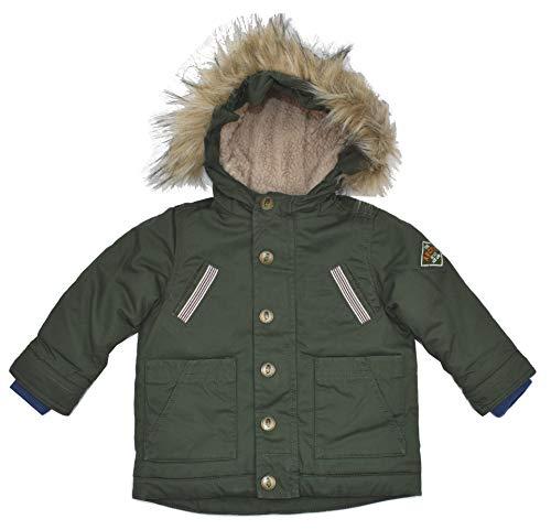 Pocopiano Parka Jacke Jungen Kapuze 74/80 Winterjacke Kinderjacke gefüttert Khaki grün