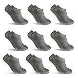 POPYS Calcetines cortos para hombre y mujer - calcetines tobillero 9 Pares Gris 40-46