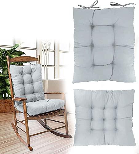 RICHRAIN Cojín para silla de jardín, estera y respaldo bajo, 2 piezas para muebles de ratán Outdor (sin silla), color gris