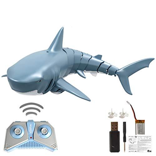 Stecto RC Fischboot Hai, Neues F151 2.4G ferngesteuertes elektrisches Rennboot[320mAh] Super wasserdichtes USB-angetriebenes Fischboot-U-Boot Badespielzeug