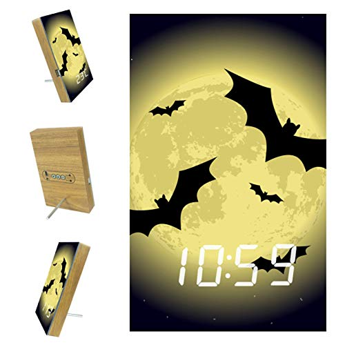 Digital Alarm Clock Moon bat Alarm Clock Desktop Beside Electronic LED Time Display Automatic Voice Control with Battery and USB Charging 6.2x3.8x0.9 in