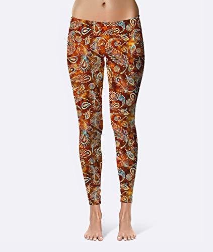 Batik Feathers Premium Women's High Waist Leggings featuring original design by Artist Dan Morris