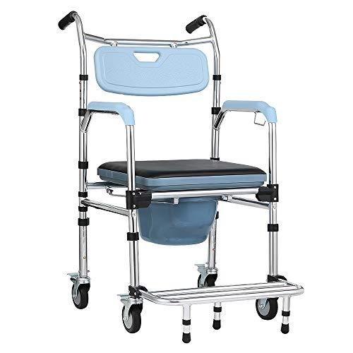 HENGMEI Rollstuhl auf Rollen Duschstuhl Fahrbarer Toilettenstuhl Nachtstuhl mit Aluminiumlegierung Toilettenrollstuhl Klappbar, Höhenverstellbar, Rückenlehne