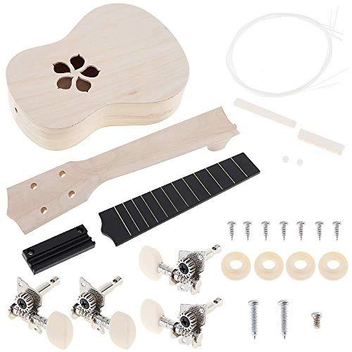 YiPaiSi 21 Inch Ukulele DIY Kit, Hawaii Ukulele Kit, Make Your Own Ukulele, Basswood 4 String Ukulele Set, Hawaii Ukulele Kit, Concert Ukulele...