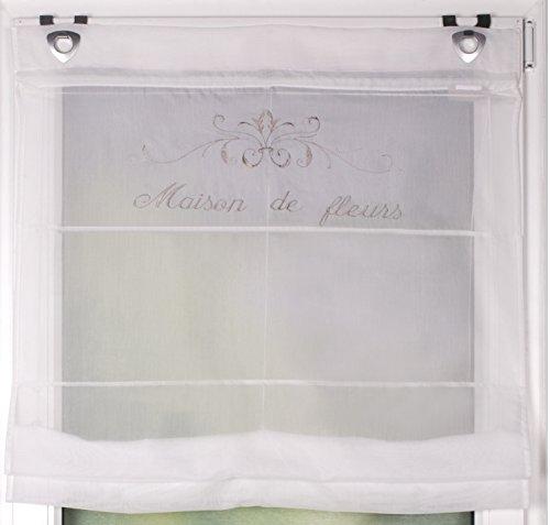 HOME WOHNIDEEN Raffrollo mit Ösen Maison de Fleurs | Landhaus Raffgardine | Shabby Chic Vintage | französicher Stil | 5 Verschiedene Breiten (BxH 60 x 130cm)