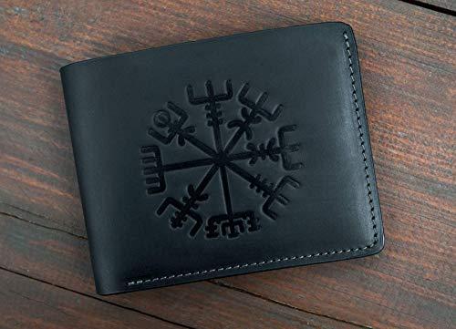 Wallet Best Unique Gift for Men -Genuine Black Leather RFID Blocking Bifold - Embossed Leather Wallet - Pocket Wallets - Vikings Vegvisir Signpost Wallet