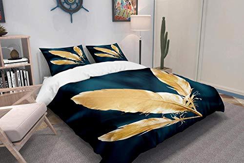 ZHIYYQ Juego de cama de tres piezas, funda de edredón doble pluma, funda de almohada, 100% microfibra, impresión digital 3D, cómoda y suave, cremallera invisible, 200 x 200 cm
