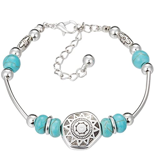 LPOK Pulsera Estilo éTnico Retro,Boho Jewelry Pulseras,Pulsera Tallada Butterfly Bracelets Regalos para Familia Amigo roundheart
