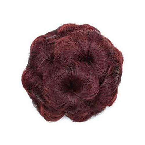 ELENXS Multi Couleurs Messy Wavy Extensions de Cheveux bouclés Chouchous Clip Fleurs Chignons Ponytail postiches