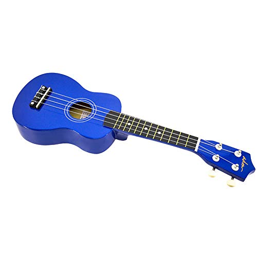 ADM Soprano Ukulele 21 Inch for Kids Beginner Ukelele, Starter Kit Strap, Aquila Strings, Picks, Dark Blue
