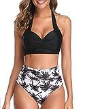 UMIPUBO Conjuntos de Bikini para Mujer Cintura Alta Push Up Traje de baño de Dos Piezas Cuello Halter Tirantes con Retro Ropa de Playa