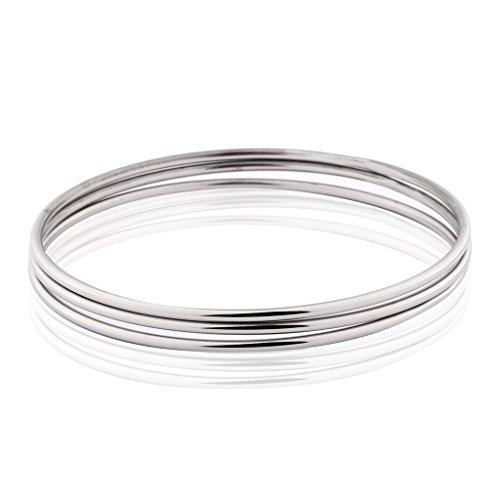 MASOP Women 3 Pcs Silver Tone Bohemian Style Simple Bangle Bracelet Set