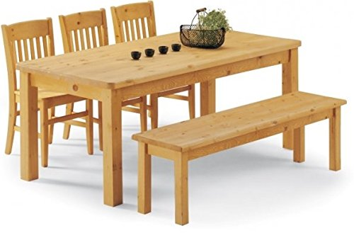 Jardin Set de table en bois avec 1 Banc et 3 bois Chaises Bois Pin Massif miel