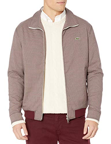 Lacoste Mens Long Sleeve Check Print Tattersall Jacket Jacket, Geode/Navy Blue/Wine, M