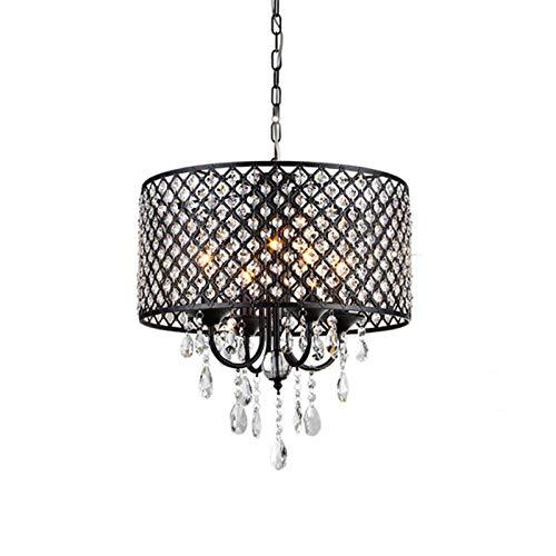 Saint Modern K9 Crystal Raindrop Chandelier Lighting Flush Mount LED Lámpara De Suspensión De Luz De Techo Para Comedor Baño Dormitorio Sala De Estar-Negro 43 * 51cm