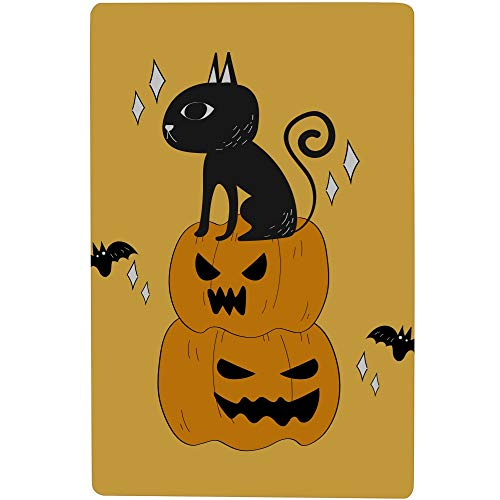 "LWEAG Bath Tub Mat Mat Outside Bathroom Halloween Black Cat Pumpkins Doodle Printing Non-Slip with Strong Rubber Suction Cup 16.5"" X 28.7"" Bath Mat Best"