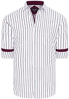 Tarocash Men's Zayden Slim Stripe Shirt Slim Fit Long Sleeve Sizes XS-5XL for Going Out Smart Occasionwear
