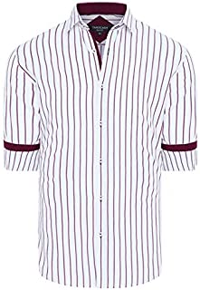 Tarocash Men's Zayden Slim Stripe Shirt Slim Fit Long Sleeve Sizes XS-5XL for Going Out Smart Occasionwear