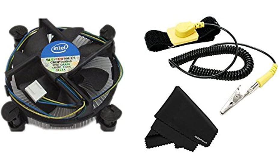 Original Intel Core i3/i5/i7 Socket 1150/1151/1155/1156 4-Pin Connector CPU Cooler + Anti Static Wrist Strap w/adjustable Grounding + Microfiber Cleaning Cloth (7