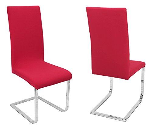 BEAUTEX 2er Set Stuhlhussen, elastische Stretch Hussen Bi-Elastic, Motiv und Farbe wählbar (Motiv Johanna, Farbe Rot)