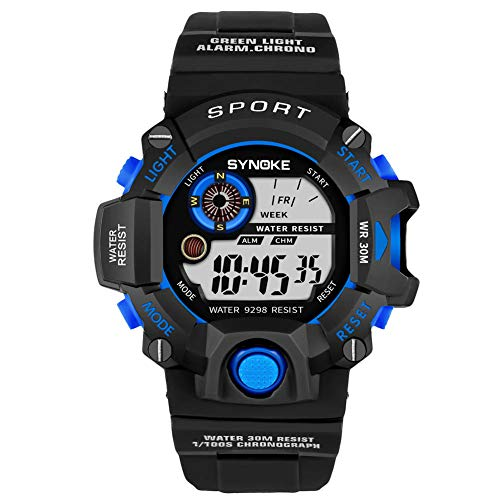 Soulitem herenhorloge, led, sport, waterdicht, multifunctioneel, elektronisch, wekker, polshorloge Black&blue