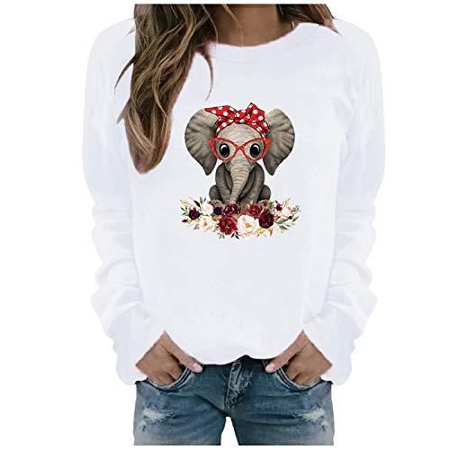 Masrin Frauen Sweatshirt Herbst Winter Lässig Langarm Tops Damen Elefant Print Pullover Blumenmuster Patchwork Lose Bluse(XXXL,Weiß)