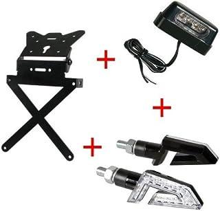 Matricula para Moto Universal Kit homologado + 1Par Flechas + luz matrícula LED lampa Kawasaki Ninja h2r 2017–2016