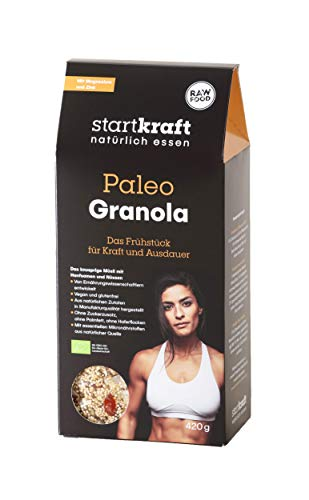 STARTKRAFT ☀ Granola Paleo Bio Protein Müsli 420g ✔vegan ✔glutenfrei - mit gekeimten Saaten & natürlichen Mikronährstoffen, ernährungsphysiologisch fundiert.